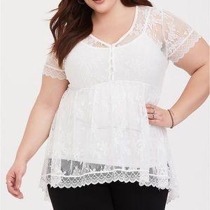Torrid White Lace babydoll Shirt